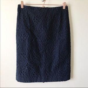 J. Crew Eyelet No. 2 Pencil Skirt Size 2